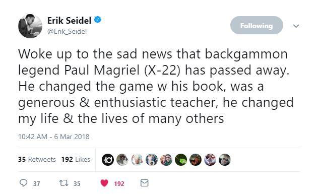 Erik Seidel Tweet
