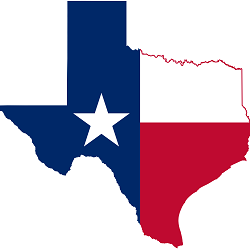The Texas state flag on a map of Texas.
