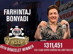 Farhintaj Bonyadi Wins Super Seniors Event to Become First Female WSOP Bracelet Winner of 2018