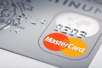 The MasterCard logo on a credit card.