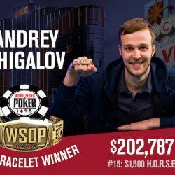 Andrey Zhigalov Wins WSOP $1,500 HORSE
