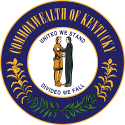 """The Kentucky State seal, it reads """"United we stand, divided we fall""""."""