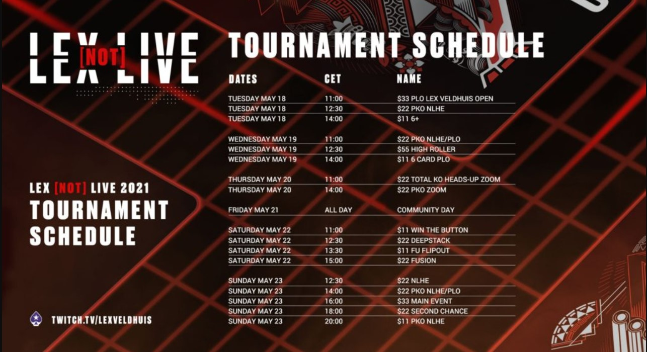 PokerStars Lex Not Live 2021 schedule
